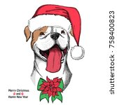 hand drawn dog. american... | Shutterstock .eps vector #758400823