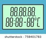 green digital screen with... | Shutterstock . vector #758401783