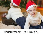 children close to the christmas ... | Shutterstock . vector #758402527