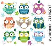 owl art vector | Shutterstock .eps vector #758402767