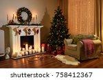 christmas room interior design  ... | Shutterstock . vector #758412367
