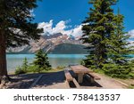 beautiful bow lake with picnic... | Shutterstock . vector #758413537