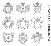 template of heraldic emblems.... | Shutterstock .eps vector #758419147
