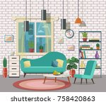 cozy living room interior with...   Shutterstock .eps vector #758420863