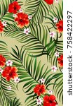 exotic tropical vrctor... | Shutterstock .eps vector #758422297