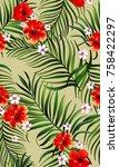 exotic tropical vrctor...   Shutterstock .eps vector #758422297