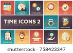 time icons   modern set of flat ... | Shutterstock .eps vector #758423347