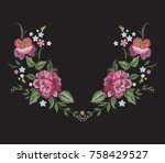 embroidery floral neckline... | Shutterstock .eps vector #758429527