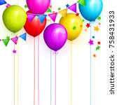 bunch of colorful birthday... | Shutterstock .eps vector #758431933