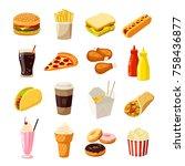 set of cartoon fast food....   Shutterstock . vector #758436877