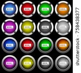 pin code white icons in round... | Shutterstock .eps vector #758438377