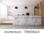 white kitchen interior with... | Shutterstock . vector #758438623