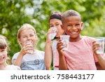 children with plastic cups... | Shutterstock . vector #758443177