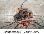 earthquake crisis house risk... | Shutterstock . vector #758448097