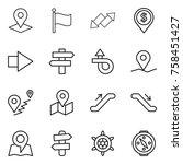 thin line icon set   pointer ... | Shutterstock .eps vector #758451427