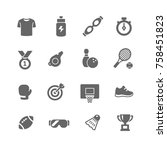 fitness and sport vector icons... | Shutterstock .eps vector #758451823