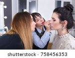 makeup teacher with her student ... | Shutterstock . vector #758456353