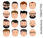 men male human face head hair... | Shutterstock .eps vector #758457703