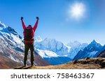 victorious man enjoying the... | Shutterstock . vector #758463367