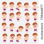 cartoon character white boy in... | Shutterstock .eps vector #758466877