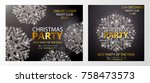 set of posters with snowflakes. ... | Shutterstock .eps vector #758473573