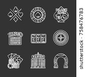 casino chalk icons set. cards... | Shutterstock .eps vector #758476783
