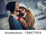 young romantic couple is having ... | Shutterstock . vector #758477953