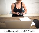 hipster girl typing text on... | Shutterstock . vector #758478607