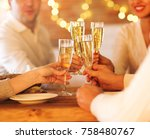 champagne glasses in people... | Shutterstock . vector #758480767