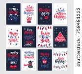 vector merry christmas greeting ...   Shutterstock .eps vector #758481223