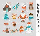 vector set of hand drawn... | Shutterstock .eps vector #758481787