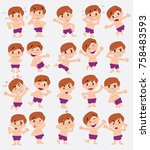 cartoon character white boy in... | Shutterstock .eps vector #758483593