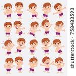 cartoon character white boy in... | Shutterstock .eps vector #758483593