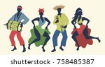 group of four people dancing... | Shutterstock .eps vector #758485387