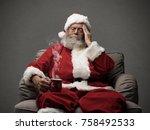 sad santa claus having an... | Shutterstock . vector #758492533