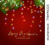 text merry christmas and happy... | Shutterstock . vector #758496223