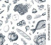healthy food seamless pattern.... | Shutterstock .eps vector #758498077