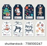 christmas and new year gift... | Shutterstock . vector #758500267