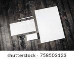 corporate stationery set. blank ... | Shutterstock . vector #758503123