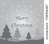 merry christmas card with... | Shutterstock .eps vector #758506387