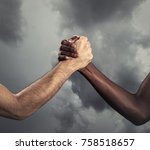 Small photo of Interracial human hands for friendship - Concept of peace and unity against racism