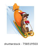 cheerful dog rides a fast sled... | Shutterstock .eps vector #758519503
