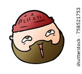 cartoon male face with beard | Shutterstock .eps vector #758521753