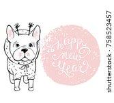 merry christmas illustration... | Shutterstock .eps vector #758523457