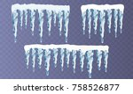 set of snow icicles isolated on ... | Shutterstock .eps vector #758526877