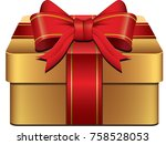 gold red gift box icon with... | Shutterstock .eps vector #758528053