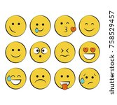 set of smile icons. emoji.... | Shutterstock .eps vector #758529457