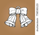 christmas bells and bow ribbons ... | Shutterstock .eps vector #758530123