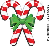 realistic candy cane with... | Shutterstock .eps vector #758533063