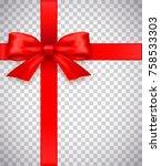 red bow .vector  | Shutterstock .eps vector #758533303